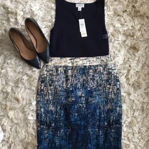 Ann Taylor blue/cream skirt